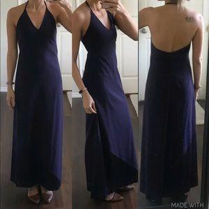 Purple plum eggplant wool silk halter maxi dress